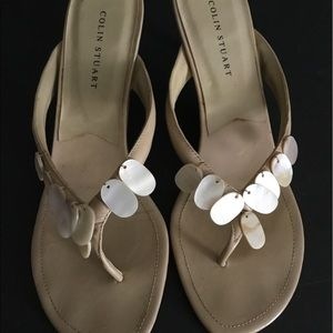 Colin Stuart Tan W/Shell Beads Sandals Size 10